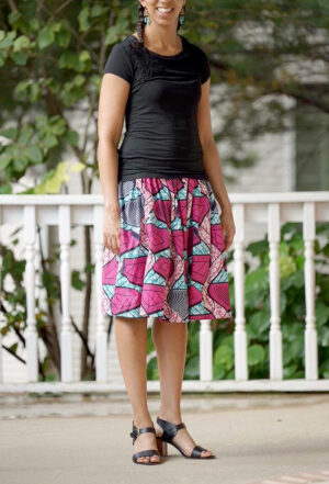 Picture of woman in a flowy handmade skirt